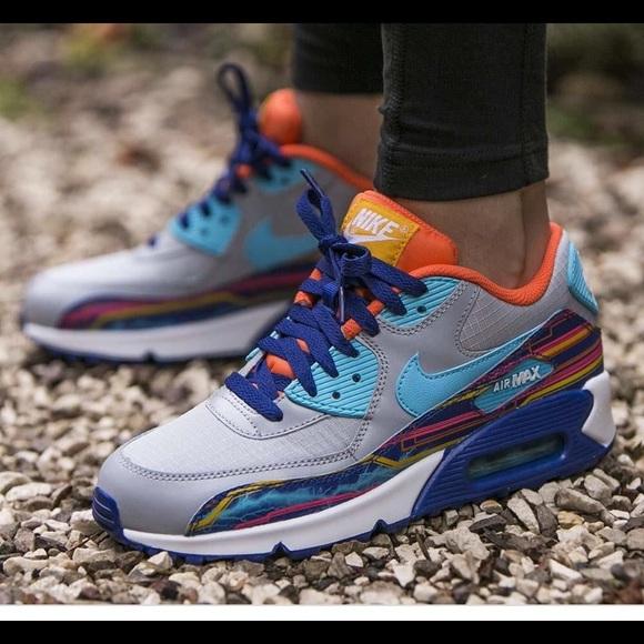 sale retailer 07787 017a9 Nike Airmax 90 Mesh Premium Wolf Grey Blue Orange
